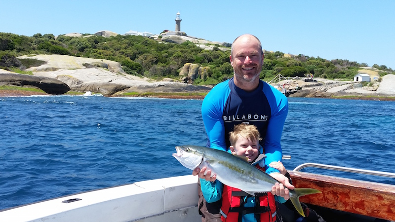 Island Fishing Narooma - The Boys with single Yellowtail Kingfish