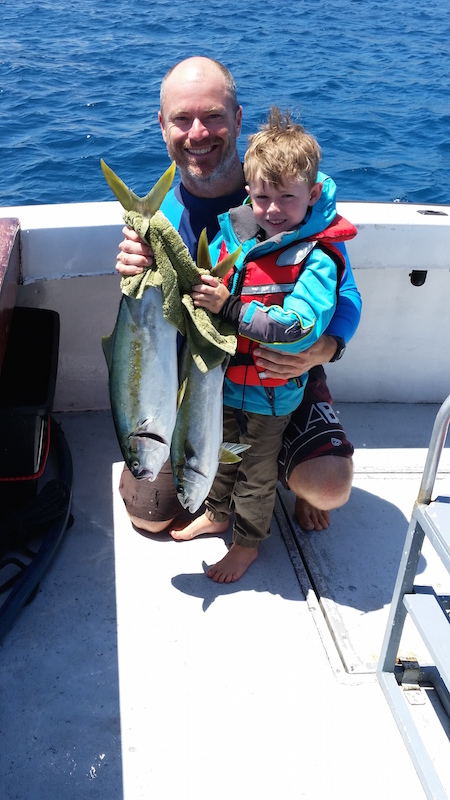Island Fishing Narooma - The Boys with two Yellowtail Kingfish